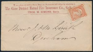 Lot 728, Canada 1868 Gore District Mutual Fire Insurance advertising cover Galt to Derenham, three cent Large Queen on laid paper