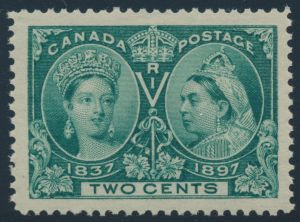 Lot 134, Canada 1897 two cent green Jubilee, XF NH