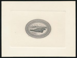 Lot 489, Newfoundland Harp Seal large die proof for 1865 stamp