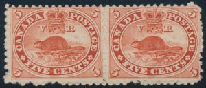 Lot 52, Canada 1859 five cent vermilion Beaver on very thick paper, Fine o.g.