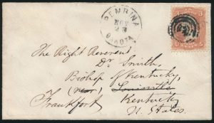 Lot 613, 1868 Rupert's Land cover with United States stamp, Red River to Pembina Dakota