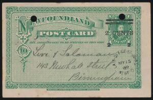 Lot 1049, Newfoundland 1889 2c on 1c surcharge stationery postcard, St. John's to Birmingham, England