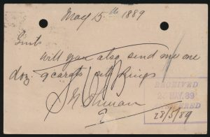 Lot 1049, Newfoundland 1889 2c on 1c surcharge stationery postcard, St. John's to Birmingham, England (back)