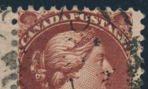 Major re-entry from Lot 119, Canada 1890s six cent red brown Small Queen Fine used pair, sold for C$3,042