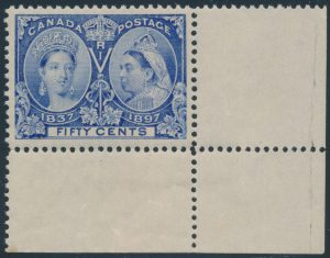 Lot 154, Canada 1897 fifty cent deep ultramarine Jubilee, XF NH, sold for C$2,106
