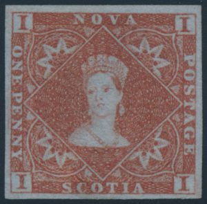 Lot 224, Nova Scotia 1853 one pence red brown Victoria, XF part o.g.