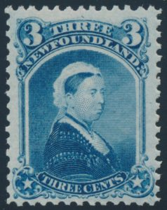 Lot 271, Newfoundland 1873 three cent blue Queen Victoria, F-VF NH