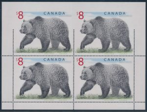 Lot 342, Canada 1997 $8 Grizzly Bear pane part imperforate, sold for C$5,616