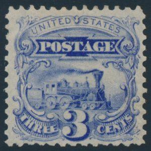 Lot 405, USA 1875 three cent Locomotive re-issue, VF mint o.g.