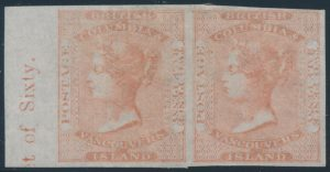 Lot 421, British Columbia & Vancouver Island 1860 2½d dull rose Queen Victoria imperforate pair, VF mint, sold for C$42,120