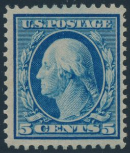 Lot 535, USA 1909 five cent blue Washington on bluish paper, full o.g. and fine