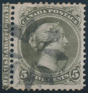 Lot 77, Canada 1875 five cent olive green Large Queen with plate imprint, VF used, sold for C$877