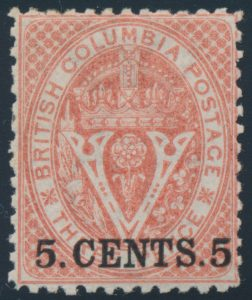 Lot 212, British Columbia 1869 five cent on three pence bright red Seal surcharge, VF o.g.