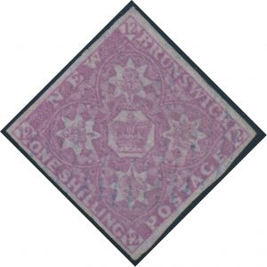 Lot 221, New Brunswick 1851 one shilling dull violet Heraldic with light oval grid cancel