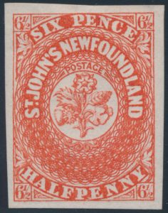Lot 249, Newfoundland 1857 six and a half pence scarlet vermilion Heraldic, XF mint
