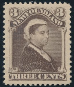 Lot 286, Newfoundland 1896 three cent umber brown Queen Victoria, XF NH, sold for C$1,228