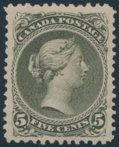 Lot 30, Canada 1875 five cent deep olive green Large Queen, XF o.g.