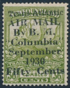 Lot 309, Newfoundland 1930 50c on 36c olive Columbia Flight surcharge, Fine NH