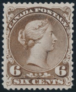 Lot 31, Canada 1868 six cent brown Large Queen on watermarked Bothwell paper, Fine o.g.