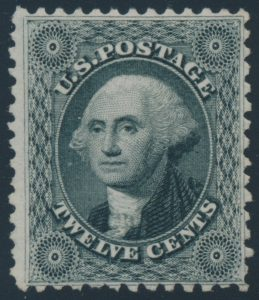 Lot 353, United States 1875 twelve cent greenish black Washington reprint, VF ng