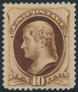 Lot 438, United States 1879 ten cent brown Jefferson with secret mark, VF mint