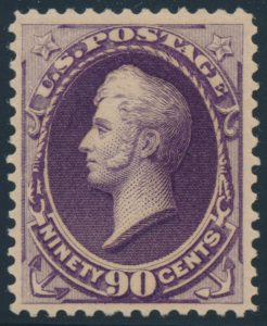 Lot 448, USA 1888 ninety cent purple Perry, VF mint, sold for C$1,053