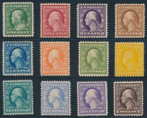 Lot 525, USA 1908-09 Washington-Franklin set with double line watermark, mint, fresh and mostly VF or better, sold for C$3,393