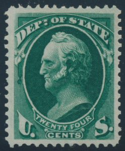 Lot 649, USA 1873 24c dark green Dept. of State Official, VF mint, sold for C$1,462