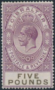 Lot 822, Gibraltar 1921-32 five pound violet King George V, F-VF mint