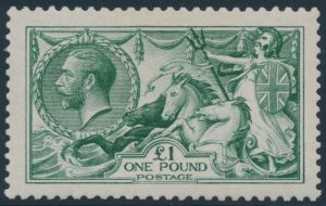 Lot 854, Great Britain 1913 one pound green King George V Seahorses, VF NH
