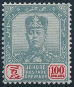 Lot 907, Malaysian States—Johore 1904 one hundred dollar Sultan Ibrahim, F-VF NH
