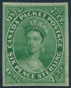 Lot 11, Canada 1857 seven and a half pence green Queen Victoria, VF o.g.