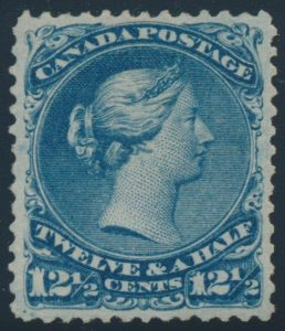Lot 33, Canada 1868 twelve and a half cent blue Large Queen, VF o.g., sold for C$3,978