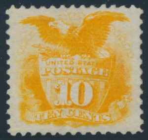 Lot 396, USA 1869 ten cent yellow Shield and Eagle, with G grill, VF mint, sold for C$3,276