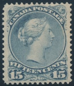 Lot 41, Canada 1868 fifteen cent blue grey Large Queen, VF o.g., sold for C$672