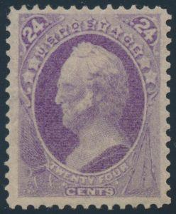 Lot 426, USA 1870 twenty-four cent purple Scott, F-VF mint, sold for C$2,223
