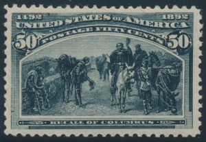 Lot 466, USA 1893 fifty cent slate blue Columbian Exposition, VF NH, sold for C$2,457