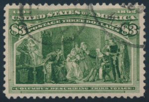 Lot 472, USA three dollar yellow green Columbian Exposition, VF used, sold for C$1,404