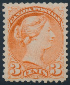 Lot 51, Canada 1879 three cent dull orange red Small Queen, VF NH