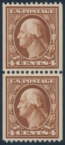 Lot 527, USA 1910 four cent orange brown Washington coil pair, XF NH, sold for C$2,574