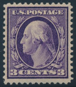 Lot 534, United States 1909 three cent deep violet Washington, VF mint, sold for C$2,223