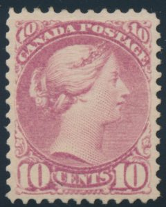 Lot 57, Canada ten cent lilac rose Small Queen, VF o.g., sold for C$3,159