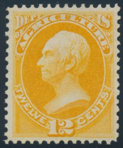 Lot 629, USA twelve cent yellow Agriculture Official, XF mint, sold for C$1,053