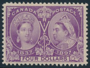 Lot 85, Canada 1897 four dollar purple Jubilee, XF NH, sold for C$7,956