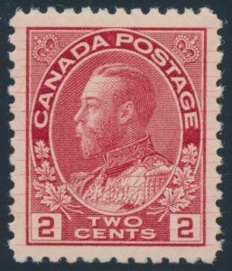 Lot 184, Canada 1912 two cent deep rose red Admiral with hairlines, XF NH