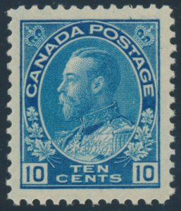 Lot 194, Canada 1922 ten cent blue Admiral wet printing, XF NH