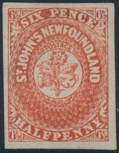 Lot 327, Newfoundland 1857 six and a half pence scarlet Heraldic, VF o.g.