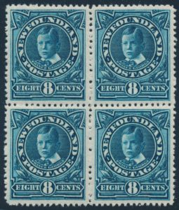 Lot 358, Newfoundland 1911 eight cent peacock blue Prince George, VF NH block of four