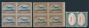 Lot 376, Newfoundland 1923 Vickers-Vimy essays in blocks of four