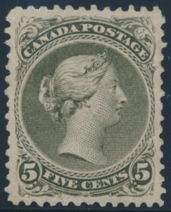 Lot 40, Canada 1875 five cent olive green Large Queen, VF o.g.